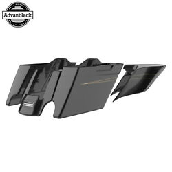 Black Quartz Extended Stretch Saddlebags With Pinstripes Fits 14+ Harley Touring