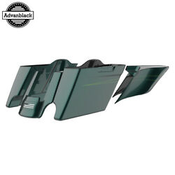 Deep Jade Pearl Extended Stretch Saddlebags With Pinstripes Fits 2014+ Harley