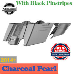 2 Into 1 Charcoal Pearl Extended Stretch Saddlebags Pinstripes Fits 14+ Harley