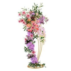 Christmas Wedding Party Decor Artificial Flower Stand Iron Frame Road Guide Vase