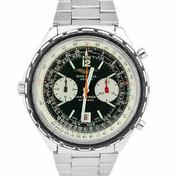 Vintage Breitling Navitimer Chronograph Black 1806 Stainless Steel 48mm Watch
