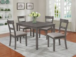 5pc Dining Set Durable Contemporary Style Gray Finish Table Chair Furniture New