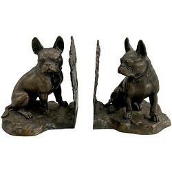 Pair Of Fine Vienna Bronze Patinated Boston Terrier Dog Bookends