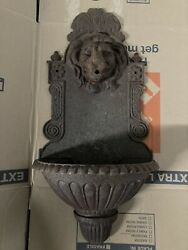 Antique French Style Lion Head Cast Iron Wall Fountain Garden Sink Lavabo