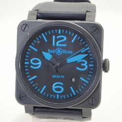 Bell And Ross Aviation Br03-92 Automatic Blue Steel Case Rubber Menand039s Box And Paper