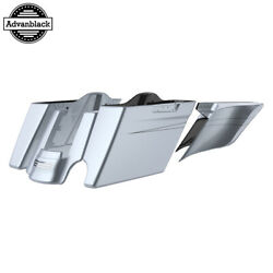 2 Into 1 Brilliant Silver Extended Stretch Saddlebags Pinstripes Fits 14+ Harley