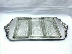 1940 Wallace Baroque Ornate Triple Glass Liner Apetizers Relish Server 17 1/4