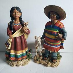 Mexican Statue Figurines Boy With Goat And Girl Holding Chihuahua 16 Polyresin