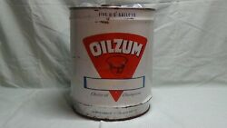 Vintage Oilzum 5 Gallon Oil Can White And Bailey Co. Worchester Mass. - Empty 1