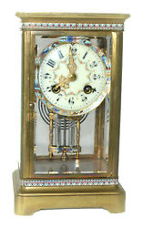 Antique French 4-glass Champleve Crystal Regulator Clock
