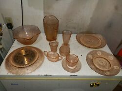 Set Of 5 Pink Depression Glass Plates Coffee Cups Saucers Pitcher Bowls Shakers