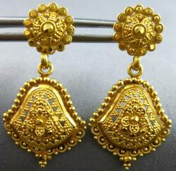 Antique Large 22k Yellow Gold Handcrafted Middle Eastern Hanging Earrings 27494
