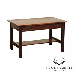 L. And J. G. Stickley Antique Mission Oak Library Table, Writing Desk