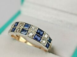 Art Deco Sapphire And Diamond 9ct Gold Ring Set In Platinum And Gold