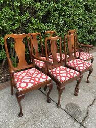 6 Antique Queen Anne Dining Chairs New Performance Fabric Seat Cushions
