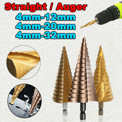 4-12/20/32mm Hex Shank Step Cone Twist Drill Bit Straight/auger Hole Cutter Tool