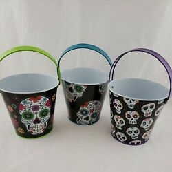 Sugar Skull Day Of The Dead Metal Lot Of Buckets Pales Halloween Decor For Treat