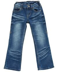 Girlsand039 Cowgirl Tuff Old West Cowprint Bucking Horse Pocket Stretch Bootcut Jeans