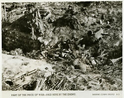 Dead Japanese Soldiers In A Shallow Dug-out Enewetak Atoll 1944 Wwii Old Photo