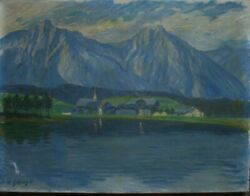 Heinrich Gottselig 1884- 1935 Oil Painting Alps Dated 1920 Antique Judaica Sign