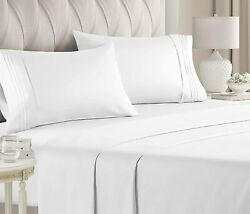 Queen Size Bed Sheets Set - Extra Soft Luxury Brushed Microfiber Queenwhite