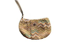 Simply Vera By Vera Wang Messina Pleated Wristlet Woven Straw Fully Lined Purse $11.95