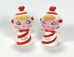 Vintage Holt Howard Christmas Lil Salt And Pepper Shakers Candy Cane Angels Pixie