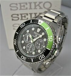 Rare Edition Seiko Solar Divers V175-0ad0 Stainless Full Box And Display And Papers
