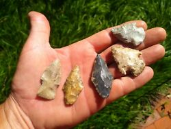 Lot Of 5 Authentic Ancient American Arrowheads Found In Oklahoma