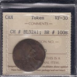 Breton 1008 Ch Bl-32a1. Copper Token, Large Flan. Iccs Vf-30 - Rare And A Beauty