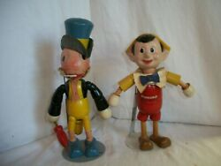 1930and039sand039 Walt Disney Pinocchio And Jiminy Cricket Ideal Wood And Composition