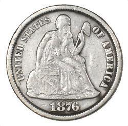1876-cc Liberty Seated Silver Dime Carson City Minted 10c - Xf Light Damage -