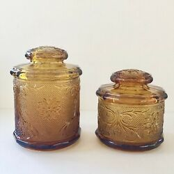 Vintage Tiara Amber Indiana Sandwich Glass Cannisters Cookie Jar Set Of 2