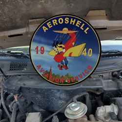 Vintage 1940 Aero Shell Aviation Service ''goofy Dog'' Porcelain Gas And Oil Sign