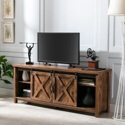 58 Farmhouse Sliding Barn Door Tv Stand For Tvs Up To 65 Entertainment Center