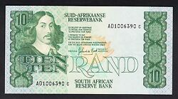 South Africa 10 Rand 1978-93 Vf P. 120 Banknote Circulated