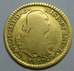 1807 Mexico 1 Escudo Charles Iv Spain Doubloon Spanish Colonial Gold Coin