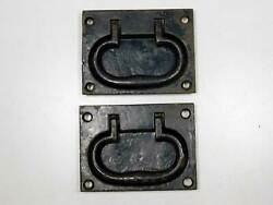Antique Heavy Cast Iron Flush Mount Handles For Tool Chests, Boxes, Trunks