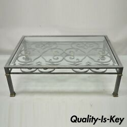 Vintage Italian Regency Style Large Brushed Steel And Glass Scrolling Coffee Table