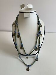 Green Blue Beaded Coin Multicolor Necklace Costume Jewelry