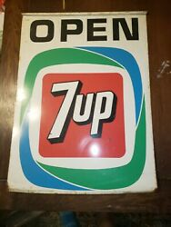 Vintage 7up Double Sided Open Metal Advertising Sign Stout Sign Co 26x22