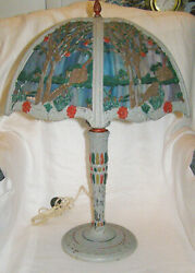 Antique Miller Working 1920andrsquos Painted Scenic Slag Glass Table Lamp- Double Light