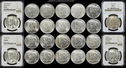 Complete Silver Peace Dollar Mint Set P D S Au 1921-1935 24 Coins Raw And Ngc 1928