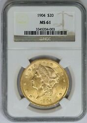 1904-p Ngc 20 American Gold Liberty Double Eagle Mint State Ms61