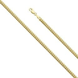 14k Real Yellow Gold 4mm Solid Miami Cuban Chain Necklace W/ Lobster Claw Clasp