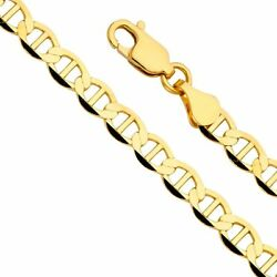 14k Yellow Gold Solid Men's 7.5mm Flat Mariner Chain Necklace With Lobster Claw