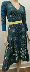 Peter Pilotto Emerald Green Printed Fit And Flare V Neck Belt Midi Dress Uk10 Bnwt