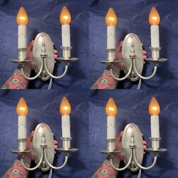 Four Quality Antique Double Candle Wall Sconces Beautiful Original Finish 44c
