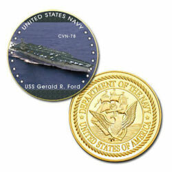 U.s. United States Navy | Uss Gerald R. Ford Cvn-78 | Gold Plated Challenge Coin