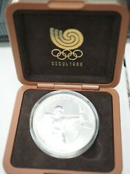 1988 South Korea Seoul 10000 Won Silver Archery Olympic Coin Dated 1988